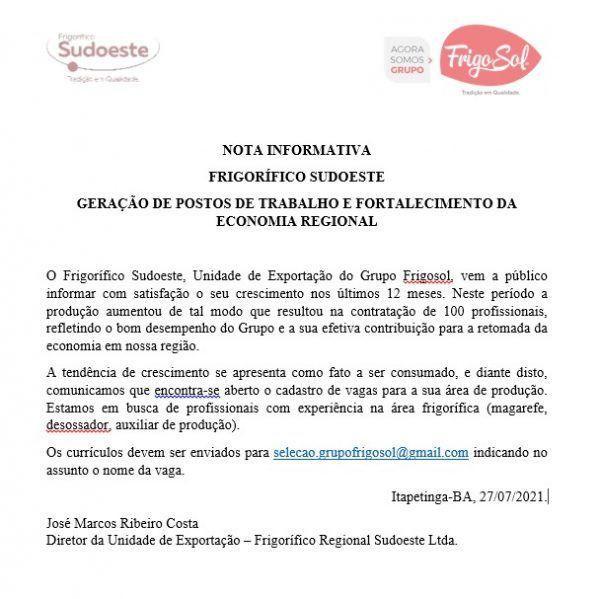 vaga de emprego em Itapetinga Bahia