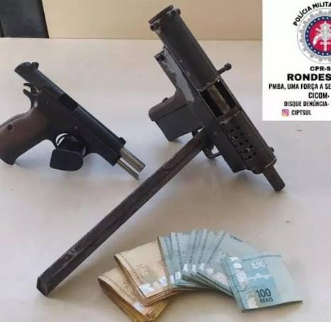 Itabuna: Rondesp Sul prende homem com submetralhadora, pistola e R$ 8 mil em espécie, no Antique
